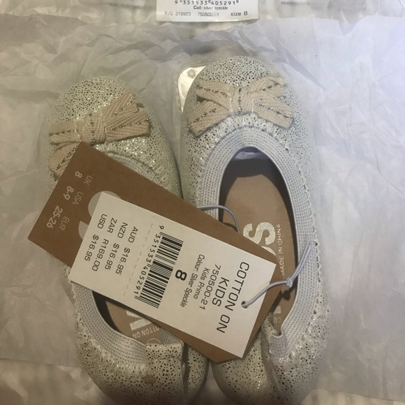 Cotton On Other - New with tag Cotton On Kids Flats (silver speckle)